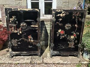 Pair Of Antique Oriental Lacquer Cabinets – Restoration/Up Cycle Project