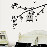 Black Birdcage Birds Tree Removable Wall Sticker Home Decor Decals Vinyl Art