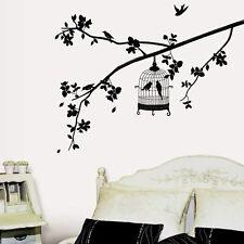 Negro Jaula Pájaros Árbol Extraíble Adhesivo Pared Decoración Hogar Vinilo Mural