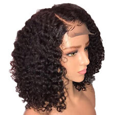 "14"" Women's Lace Front Wig Ladies Afro Black Deep Kinky Short Curly Hair Wig GEM"