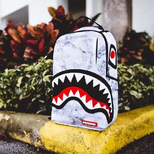 Brand New SPRAYGROUND Chenille White Marble Shark Deluxe Bag