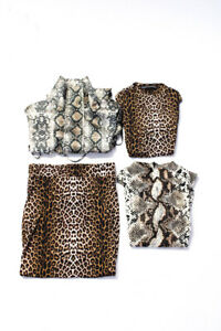Naked Wardrobe Womens Animal Print Satin Jacket Body Suits Brown Size S Lot 4