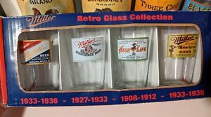 Miller Retro Glass Collection Pub Glasses NIB pint