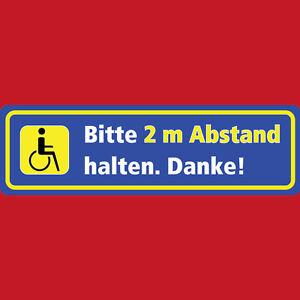 1012 Aufkleber Rollstuhl Bitte 2 m Abstand halten Behinderte Autoaufkleber 20x6