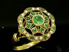 R289 Genuine 9K SOLID Gold NATURAL Emerald & Pearl Vintage style Ring size N
