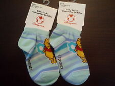 2 Pair Winnie the Pooh Girls Socks Striped Shoe Size 9-10 Small Disney Store New