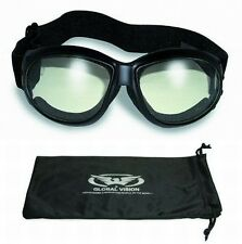 Eliminator Foam Padded Motorcycle Riding ATV Goggles-CLEAR LENSES-Sun Glasses