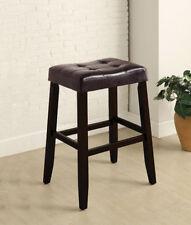 30'H Classic Looking Espresso Pu Cushion Wood-Leg Saddle Stool Set(2)-Asdi