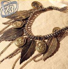 Vintage fashion femme bohème multicouche feuilles pendentif chaîne collier uk