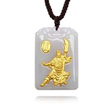 Authentic Grade A Jadeite with 999 Gold Guan Yu Pendant with Certificate
