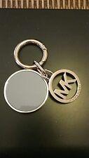 Michael Kors MK Logo Blue Hang Tag Fob Charm Key Chain Gold