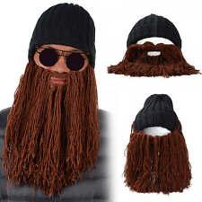Men Winter Warm Wool Handmade Crocheted Funny Beard Knit Ski Beanie Hat Cap