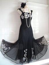 Wallis 12 Vintage Década de 1920 Negro Blanco Vestido para Baile de graduación de Charleston Aleta Gatsby Deco
