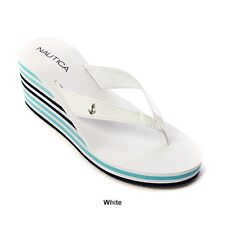 Nautica Wedge Flip Flop Sandals – White Patent w/Striped Wedge – 7 Medium