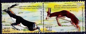 Black Bug Gazelle Wild Animals Odd Unusual Bronze Silver Foil, India 2015 MNH