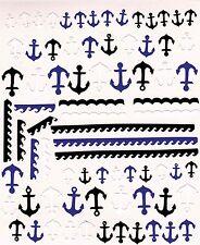 Pegatinas de uñas del ancla Peel n Stick (negra, blanca y azul)