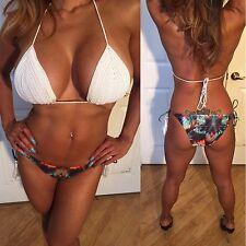 Connie's White String Bikini With Tassels on the hip & Crochet Top Bikini set S
