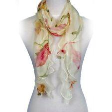 Fashion Double Layer 100% Silk Floral Ruffle Summer Silk Women Scarf, Beige/Red