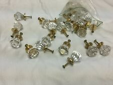 "DRAWER PULLS CRYSTAL CLEAR GOLD VINTAGE 2"" SHABBY COUNTRY REMODEL FURNITURE"