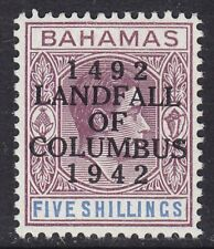 BAHAMAS SG174a 5/- PURPLE & BLUE COLUMBUS LIGHTLY MOUNTED MINT