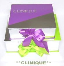 CLINIQUE Large Empty BEAUTIFUL Gift Boxes x 2 in PURPLE / GREEN & SILVER