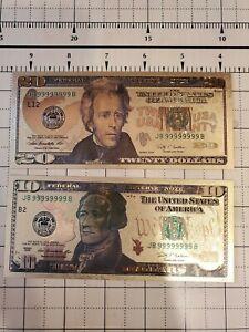 $20 1928 US Gold Certificate Novelty 24K Gold Foil Plated Note Bill BONUS 10$