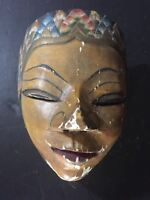 Antique Vintage ASIAN JAVA WOOD Dance MASK CEREMONIAL BALI INDONESIA
