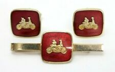 "Set: Vintage ""Tandem Bicycle"" Bike Enamel & Gold-Tone Tie Bar/Clip & Cufflinks"