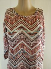 Almost Famous Women's Blouse Size Small Red Orange Chevron