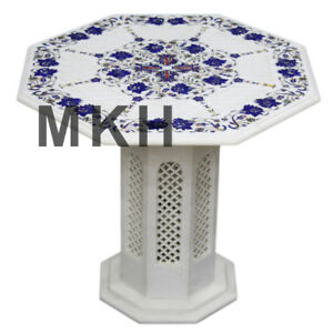 coffee table top with pedestal pietra dura mosaic marble inlay traditional art