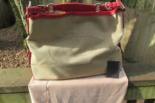 PRADA Logo Hobo Hand Bag  Beige Canvas & Red Leather Italy