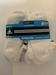 Youth Adidas Climalite Athletic White Socks Size 13-4 No Show 6 Pair NWT