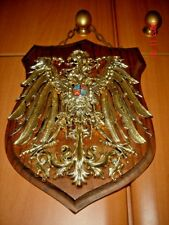 Plastic Eagle Emblem on Wooden Plaque w/chain, Vintage Display Collectible