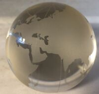 Two's Company World View Etched Globe Paperweight, Hand-Etched Glass Design B3