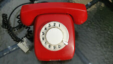 RARE VTG SOVIET POLAND ROTARY DIAL PHONE TELEPHONE TELKOM JASKIER-74 RED COLOR