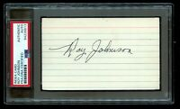 Roy Johnson (d1973) signed autograph 3x5 index card Baseball Player PSA Slabbed
