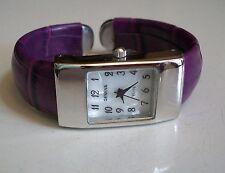 Ladies Geneva small Purple  Leather Bangle Cuff Quartz Fashion Casual Watch