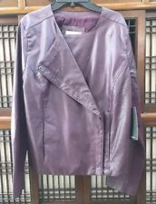 Calvin Klein Faux Leather Sport Lux Jacket Elderberry Woman Large New MRSP$148