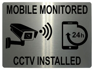 990 MOBILE MONITORED CCTV INSTALLED Metal Aluminium Plaque Sign House Office