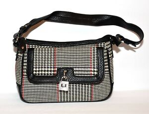Chaps by Ralph Lauren Black White Red Check Fabric and Faux Leather Shoulder Bag