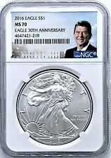 2016 Silver Eagle MS70 NGC Eagle 30th Anniversary Ronald Reagan Label
