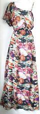 Ladies vintage Floral Print maxi Dress Size Medium Black Strappy asymmetric 70's