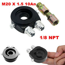 Oil Filter Relocation Sandwich Plate Adapter Kit M20 x 1.5 An-10 Fitting Black