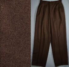 Vtg RALPH LAUREN Misses Sz 6 High-Waist Brown Wool Cuffed Pants Trousers