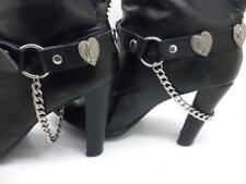 New Boot Straps Genuine Leather Heart Unisex Women Men Motorcycle Biker Pair