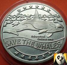 1995 WWF Orca Orcinus orca ECU para la Naturaleza Moneda Medalla Tamaño de corona