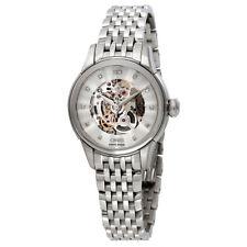 Oris Artelier Silver Skeleton Dial Stainless Steel Ladies Watch 01 560 7687