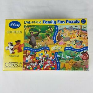 NEW! Kohl's Cares Disney Classic Look and Find Family Fun 300 Pc Jigsaw Puzzle