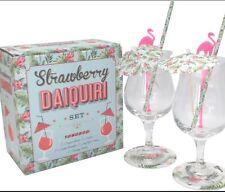 Pink FLAMINGO Set 2 Cocktail Glasses Daiquiri Stirrers Coasters Boxed New