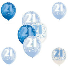 "Set of 6 Age 21st Blue,White,Sky Birthday Balloons Latex Size 12"" Party Decorati"